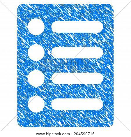 Grunge List icon with grunge design and dirty texture. Unclean vector blue list pictogram for rubber seal stamp imitations and watermarks. Draft sign symbol.