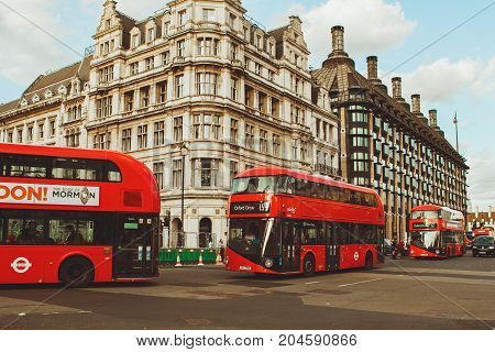 London - August 19, 2017: Red London Buses In London, The Uk.
