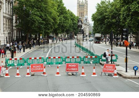 London - August 20, 2017: Road Closed Sign