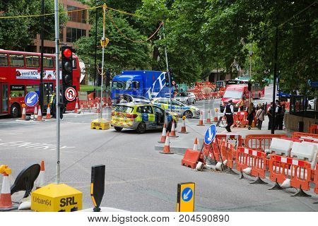 London - August 20, 2017: Road Closed Sign On A Street Of London
