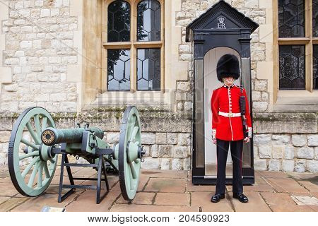 August 21, 2017 : Royal Guard At Tower Of London, England.