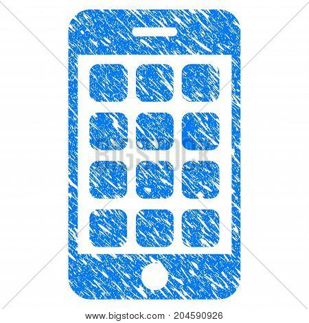 Grunge Mobile Apps icon with grunge design and dust texture. Unclean vector blue mobile apps pictogram for rubber seal stamp imitations and watermarks. Draft emblem symbol.
