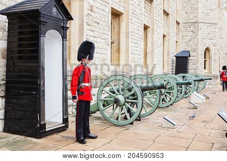 London, United Kingdom - August 21, 2017 : Royal Guard At Tower Of London, England.