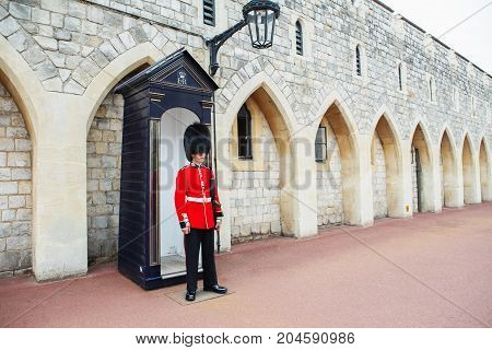 London, United Kingdom - August 22, 2017 : Royal Guard At Windsor Castle, England.