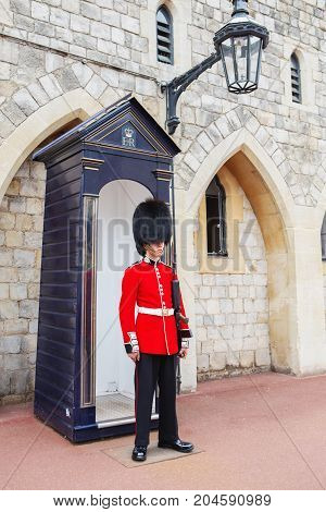 London, United Kingdom - August 22, 2017 : Royal Guard At Windsor Castle, England.