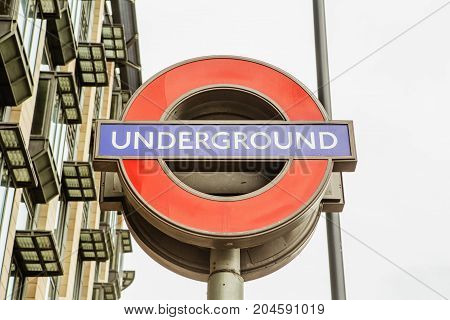 London - August 23, 2017: London Underground Sign