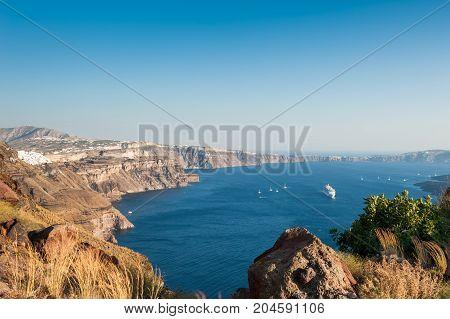 Panoramic View Of Santorini Island, Greece.