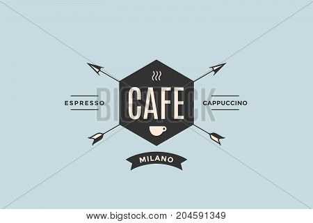 Emblem of Cafe with arrows and text Cafe, Espresso, Cappuccino. Logo template for cafe in vintage retro style. Logo, signs, labels, identity, badges for business brands. Vector Illustration