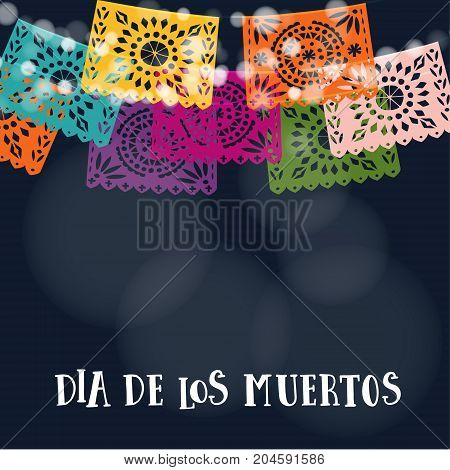 Dia de los Muertos or Halloween card, invitation. Mexican Day of the Dead. Garland of lights, handmade cut colorful party flags, vector illustration background.