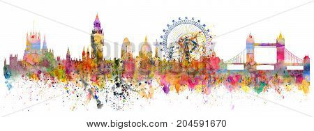 Abstract illustration of the London skyline - watercolor stains and brush strokes