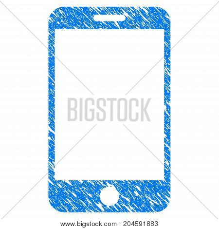 Grunge Smartphone icon with grunge design and dust texture. Unclean vector blue smartphone pictogram for rubber seal stamp imitations and watermarks. Draft emblem symbol.