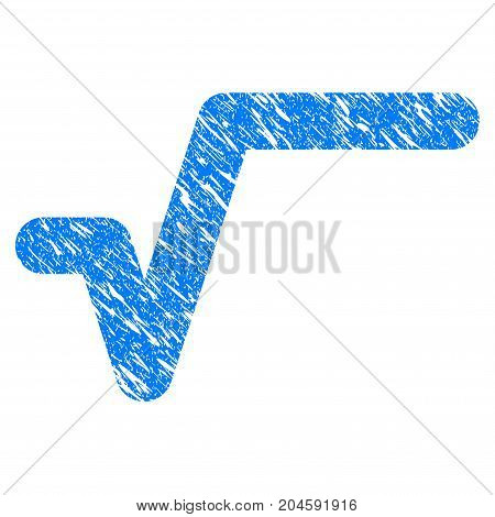 Grunge Sqrt icon with grunge design and dirty texture. Unclean vector blue sqrt pictogram for rubber seal stamp imitations and watermarks. Draft sign symbol.