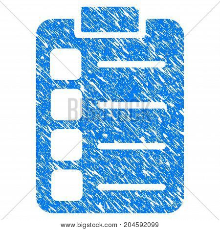 Grunge Tasks icon with grunge design and scratched texture. Unclean vector blue tasks pictogram for rubber seal stamp imitations and watermarks. Draft sticker symbol.