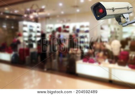 CCTV security indoor camera system operating trendy bag shop in department store shopping mall fashion shopping surveillance security and safety technology concept