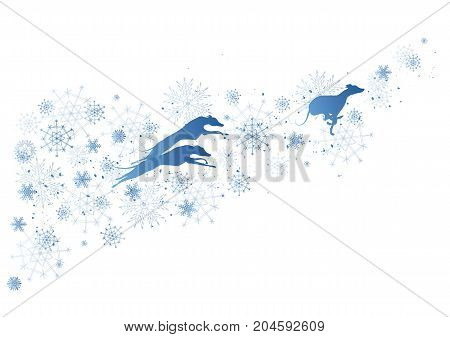 vector New Year background 2018 with dogs and snowflakes