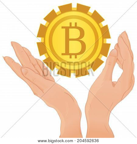 Hands holding bitcoin isolated on the white background vector illustration