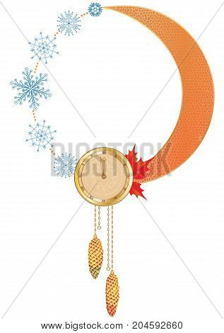 Vector New Year frame with clock and snowflakes