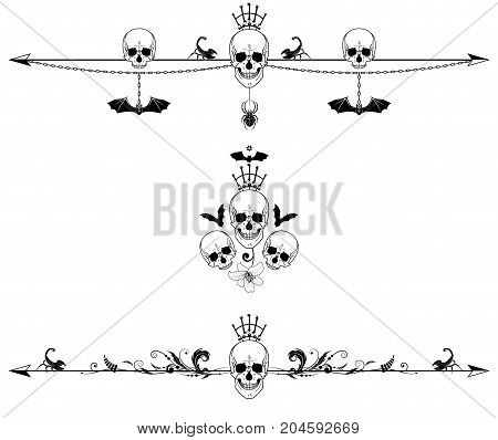 set of vector dividers with skulls scorpions spider and bat
