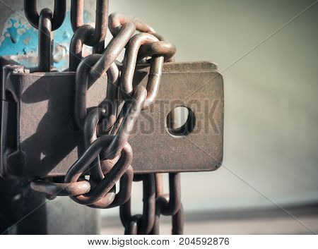 Rusty Chain on Old Padlock ,Selective Focus with Place Your Text