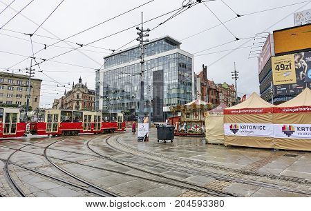 Katowice, Poland - September 16, 2017: The Main Square In The Ci