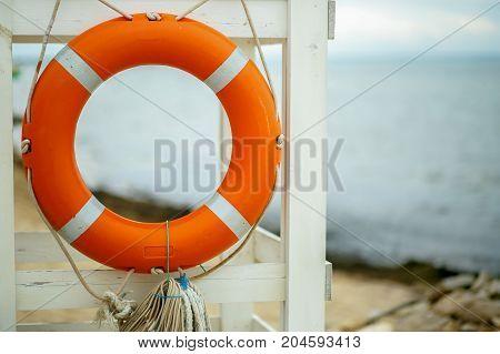 life ring on the Black sea coast