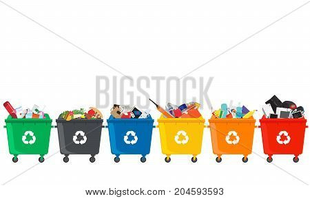 Many garbage cans with sorted garbage. Sorting garbage. Ecology and recycle concept. Trash cans isolated on white background. vector flat illustrations.