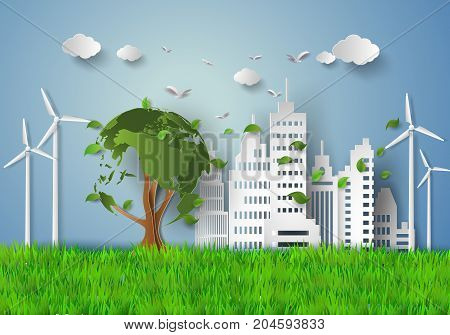 concept of eco with building and nature.paper cut style