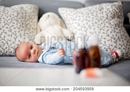 Little Newborn Baby With Little Wound On His Forehead