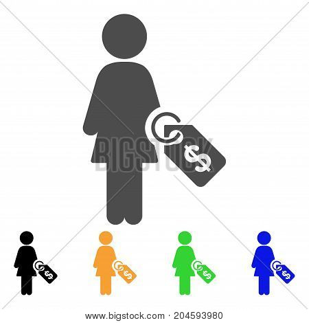 Woman Price Tag icon. Vector illustration style is a flat iconic woman price tag symbol with black, grey, green, blue, yellow color variants. Designed for web and software interfaces.