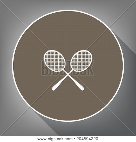 Two tennis racket sign. Vector. White icon on brown circle with white contour and long shadow at gray background. Like top view on postament.