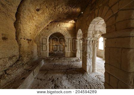 MONTMAJOUR FRANCE - JUNE 26 2017: Romanesque Chapel of St. Peter in Montmajour Abbey near Arles France