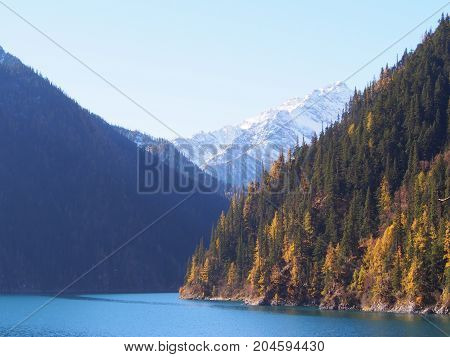Beautiful Lake And Mountain Jiuzhaigou. Nature Reserved. National Park. .chengdu , Sichuan, China.