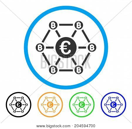 Bitcoin Euro Net Structure icon. Vector illustration style is a flat iconic bitcoin euro net structure grey rounded symbol inside light blue circle with black, green, blue, yellow color variants.