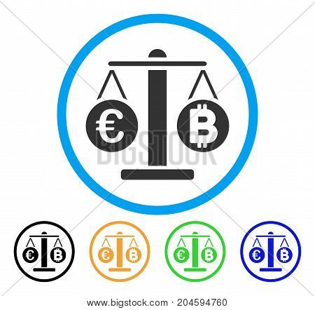 Euro And Bitcoin Scales icon. Vector illustration style is a flat iconic euro and bitcoin scales gray rounded symbol inside light blue circle with black, green, blue, yellow color variants.