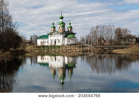 Cathedral of the Icon mother of God Smolenskaya in Olonets, Karelia, on the island.  The Christian Church in Russia. Orthodox historical and religious sanctity of the Church.
