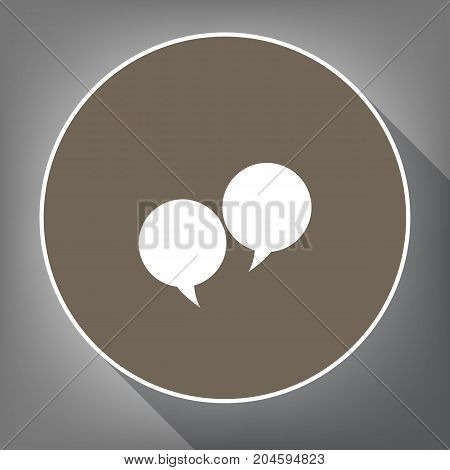 Two speech bubble sign. Vector. White icon on brown circle with white contour and long shadow at gray background. Like top view on postament.