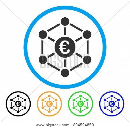 Euro Bank Network icon. Vector illustration style is a flat iconic Euro bank network grey rounded symbol inside light blue circle with black, green, blue, yellow color versions.