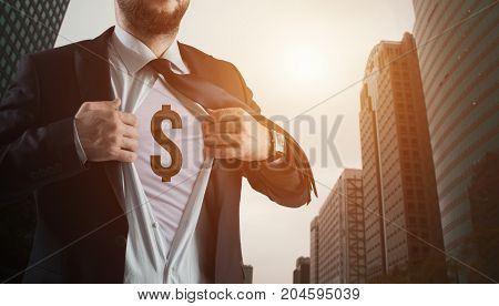 Successful international financial investment concept with business person showing dollar sign on his chest