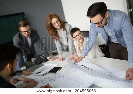 Business people working and meeting at modern  business office