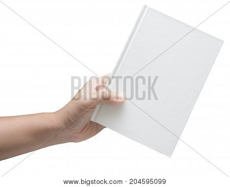 hand holding white blank book isolated on white