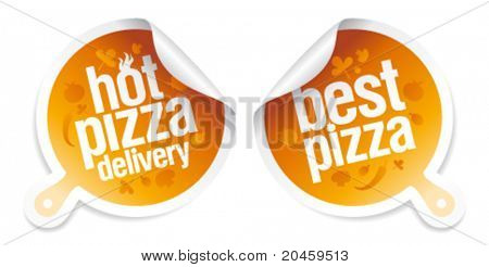Best pizza, hot pizza delivery stickers.