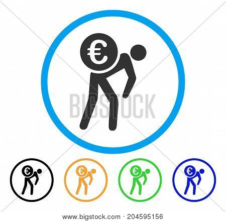 Euro Courier icon. Vector illustration style is a flat iconic Euro courier gray rounded symbol inside light blue circle with black, green, blue, yellow color variants.