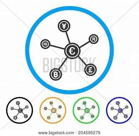 Euro Financial Network Links icon. Vector illustration style is a flat iconic euro financial network links gray rounded symbol inside light blue circle with black, green, blue, yellow color versions.