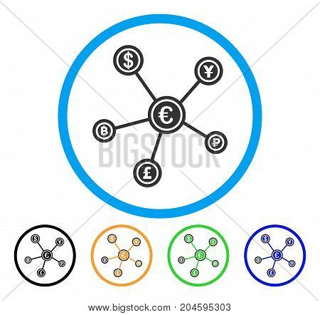 Euro Financial Network icon. Vector illustration style is a flat iconic euro financial network gray rounded symbol inside light blue circle with black, green, blue, yellow color versions.