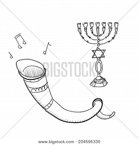 Vector set of sketches attributes celebration of Rosh Hashanah - jewish new year - the traditional food , candles , torus , shofar
