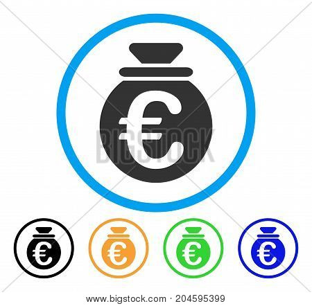Euro Fund icon. Vector illustration style is a flat iconic Euro fund gray rounded symbol inside light blue circle with black, green, blue, yellow color versions.