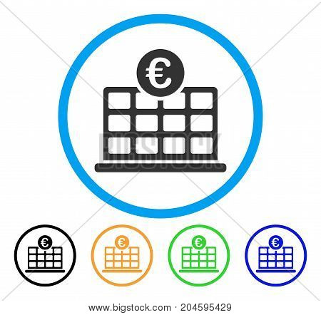 Euro Hotel icon. Vector illustration style is a flat iconic Euro hotel grey rounded symbol inside light blue circle with black, green, blue, yellow color variants.