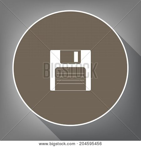 Floppy disk sign. Vector. White icon on brown circle with white contour and long shadow at gray background. Like top view on postament.