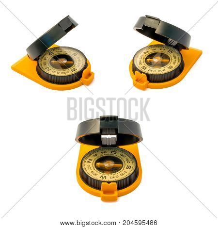 Set of new plastic compasses with mirror isolated on white background