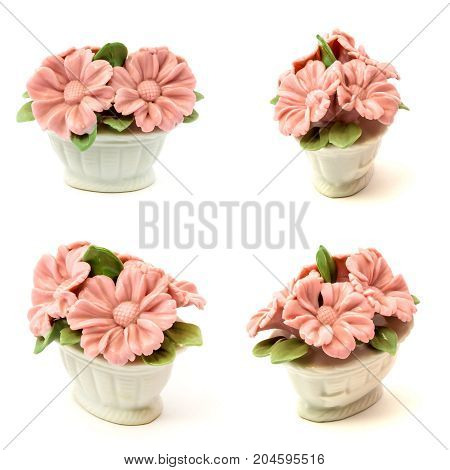 Set of porcelain figurines baskets of flowers for the decoration of interiors